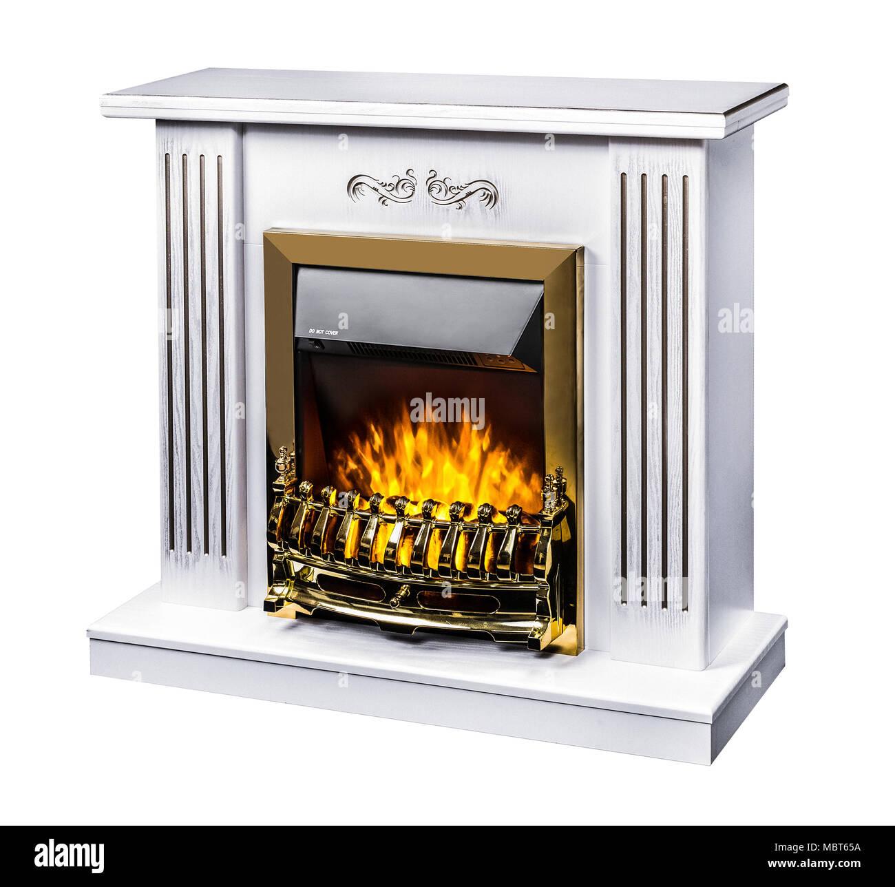 Cheminee Electrique Decorative Moderne Avec Une Belle Flamme Brulante Photo Isole Sur Fond Blanc Photo Stock Alamy