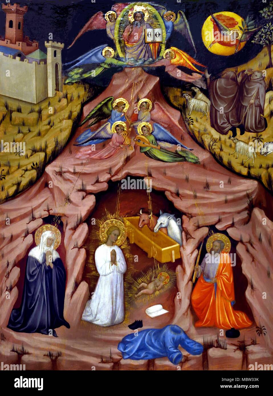 Visione di Santa Brigida - Vision de Saint Brigid, 1372 byTurino di Vanni 14-15ème siècle Italie Italien Photo Stock