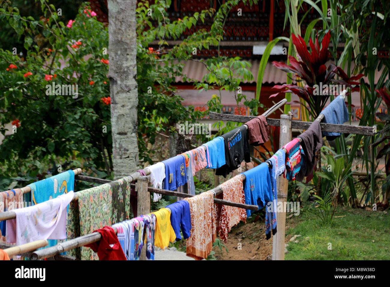 Vie simple dans un village de Toraja, Sulawesi, Indonésie Photo Stock