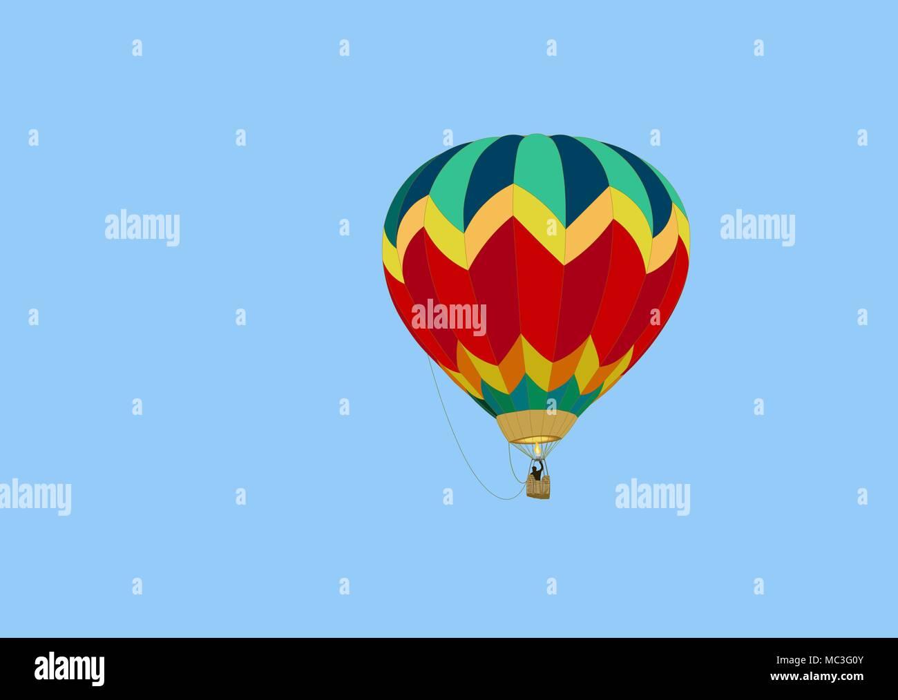 Ballons colorés avec un panier, une silhouette noire d'un homme et d'une flamme de feu d'un brûleur, plane dans un ciel bleu, un jour d'été Photo Stock