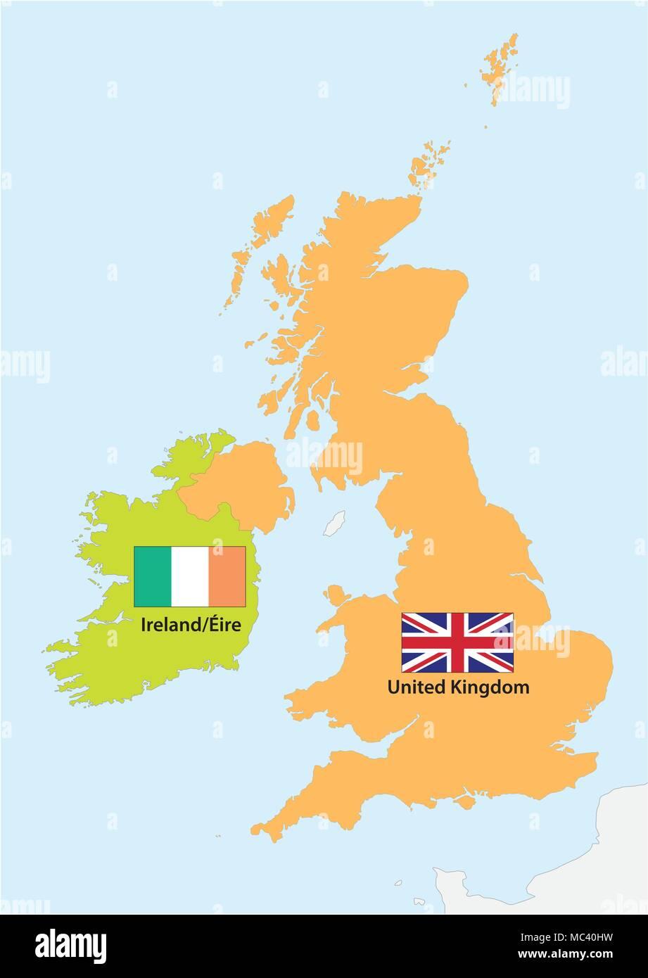 Contour simple carte vectorielle de l'Irlande et Royaume-Uni avec drapeau Photo Stock