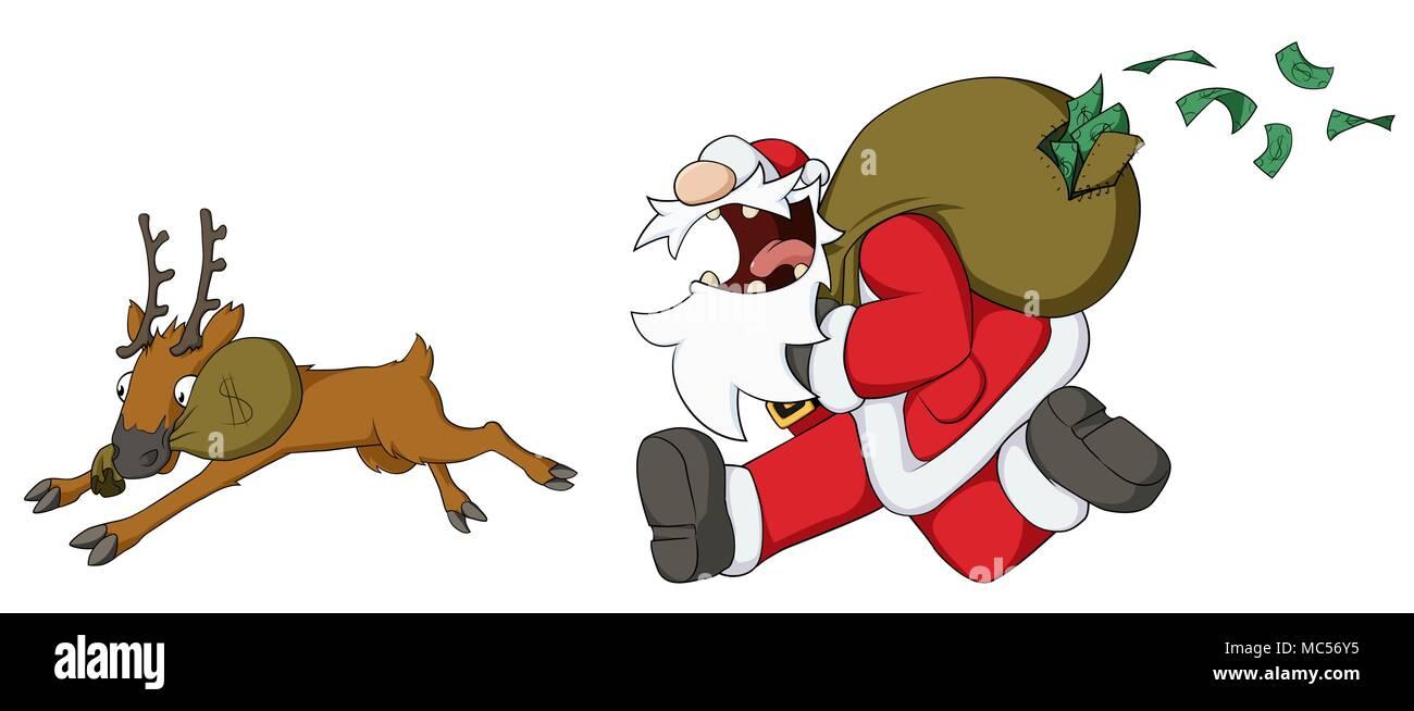 Célébration De Noël Dessin Animé Humoristique Le Père Noël