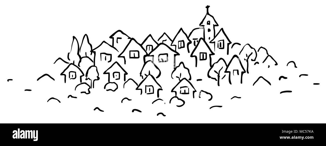 Banque Vectorielle petite ville caricature stylisée, dessin de ligne, horizontale