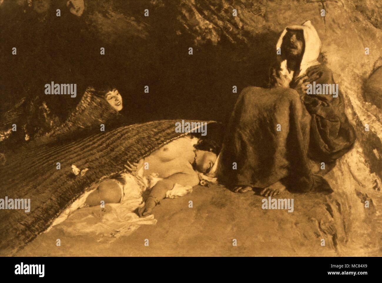 """Gravure d'après la peinture vers 1880, """"La Tentation de Saint Antoine"""" de Domenico Morelli. La croix et la lettre N sculptés sur le mur derrière le Saint est intéressant: la n'est probablement destinée à la Nike grec, signifiant 'victoire'. Photo Stock"""
