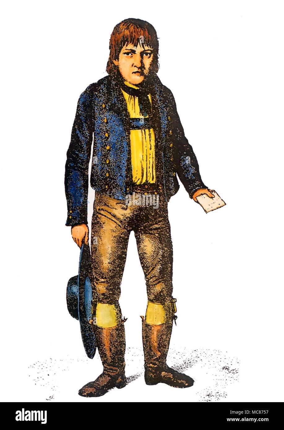 Phénomènes étranges Caspar Hauser, qui a comparu à titre de nulle part dans les rues de Nuremberg, en mai 1828. Il a été assassiné en 1883, son origine et la vie un mystère total. Gravure de Hanfstaengl Banque D'Images