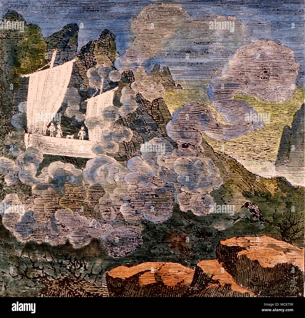 Des phénomènes étranges - ghost ship de Porthcurno début du 19ème siècle d'un navire d'observation aérienne de Porthcurno, Cornwall, tel que rapporté par Robert Hunt dans 'romances populaires de l'ouest de l'Angleterre'. 1835 Photo Stock