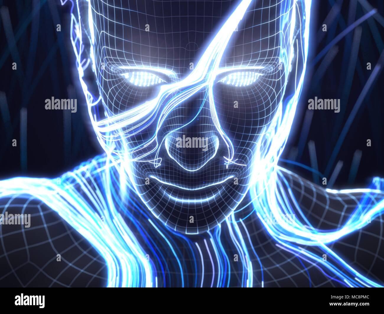 Concept d'intelligence artificielle avec l'humain virtuel avatar. 3d illustration. Convient pour la technologie, l'intelligence artificielle, l'exploration de données,deep learnin Photo Stock
