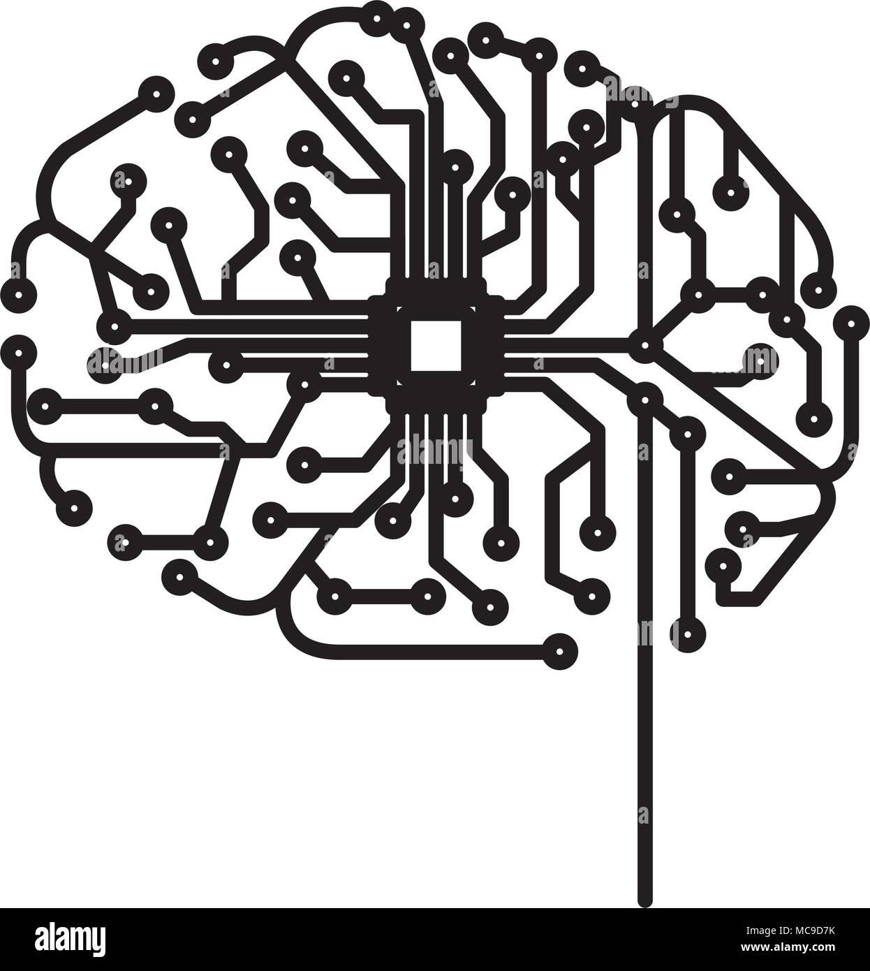 Avec l'icône électrique du circuit du cerveau Photo Stock
