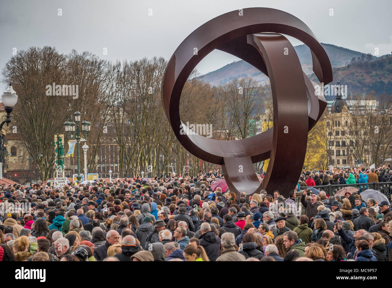 Bilbao, Pays Basque, Espagne, mars, 17, 2018, manifestation de masse et de protestation des retraités et préretraités à Bilbao Photo Stock
