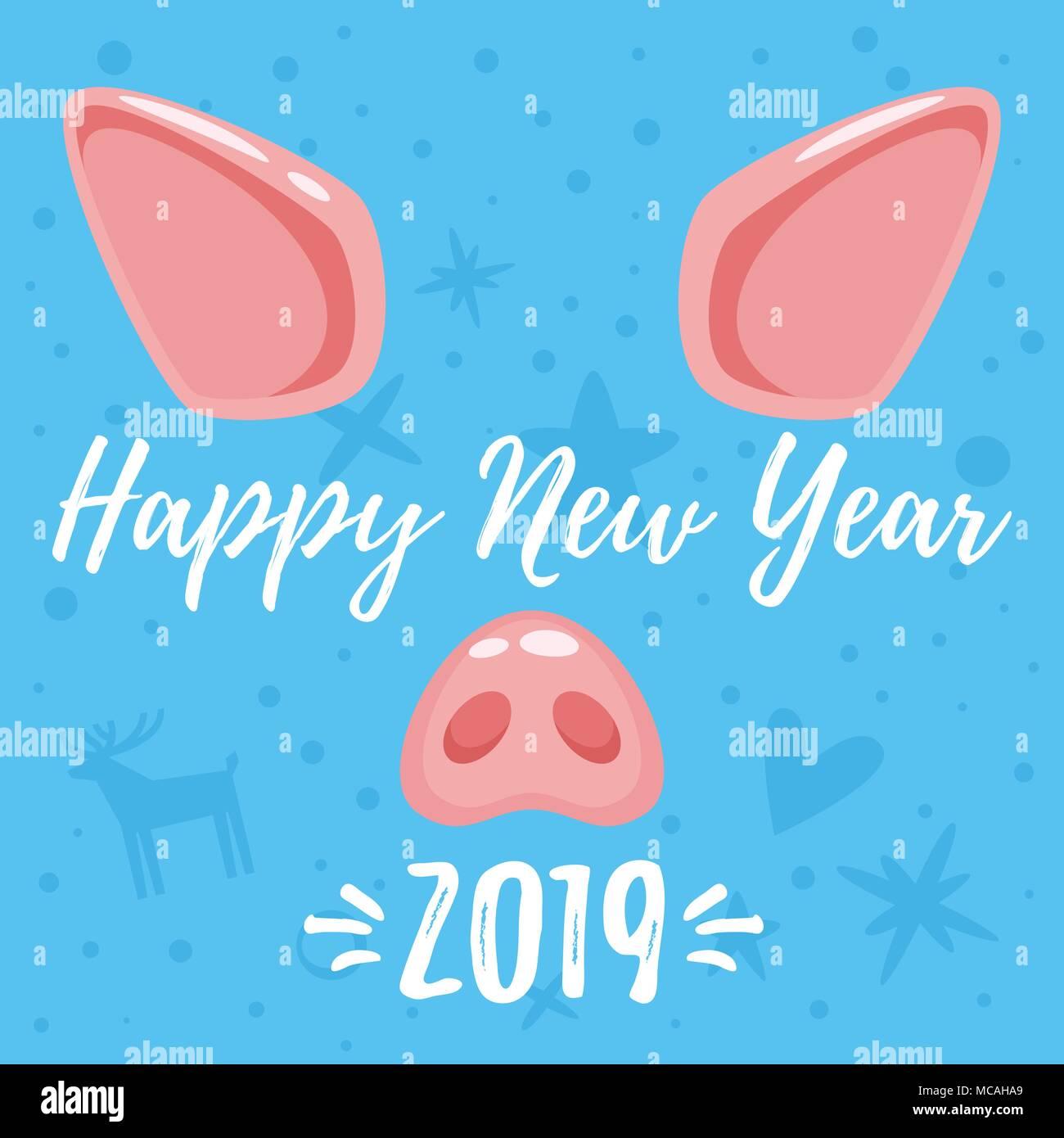 1577de1bc73b Vector cartoon style Nouvelle année 2019 et carte de vœux de Noël avec  design mignon visage animal cochon   oreilles et nez rose. Isolé sur fond  bleu et h