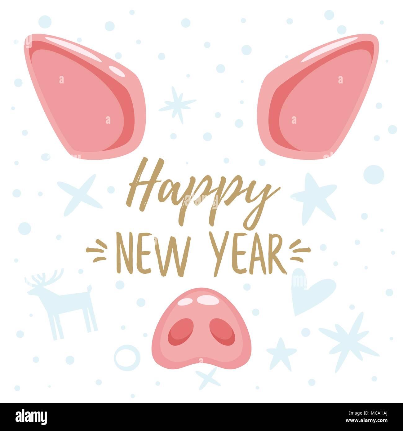 8a4c891b2d1a Vector cartoon style Nouvelle année 2019 et carte de vœux de Noël avec  design mignon visage animal cochon   oreilles et nez rose. Isolé sur fond  blanc