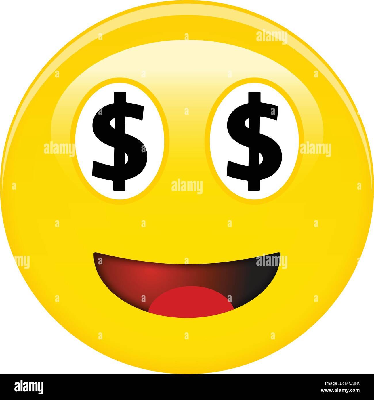 Dollar Americain Smiley Emoticone Rire Jaune Avec Emoji 3d Symboles Usd Noir A La Place Des Yeux Et Ouvrit La Bouche Rouge Image Vectorielle Stock Alamy