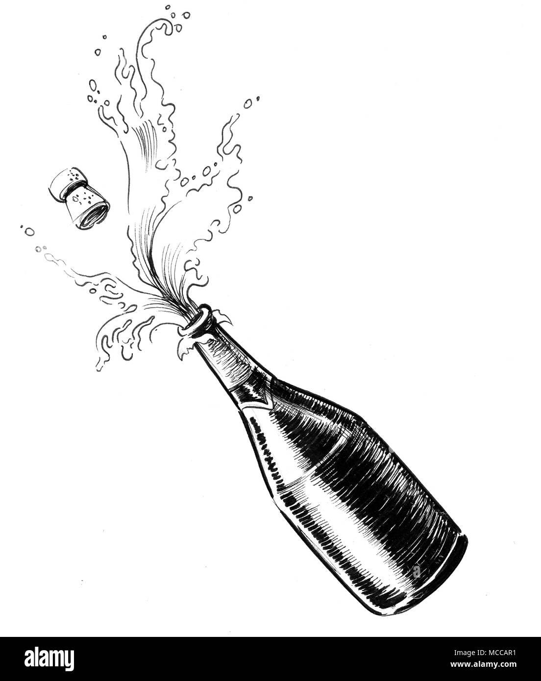 Bouteille De Champagne Dessin l'ouverture d'une bouteille de champagne. dessin noir et blanc encre