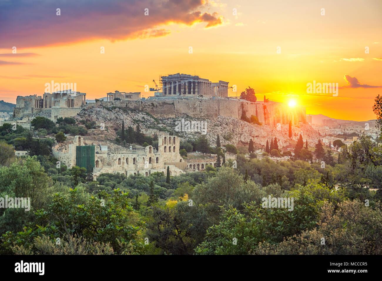 Lever de Soleil sur le Parthénon, l'acropole d'Athènes, Grèce Photo Stock