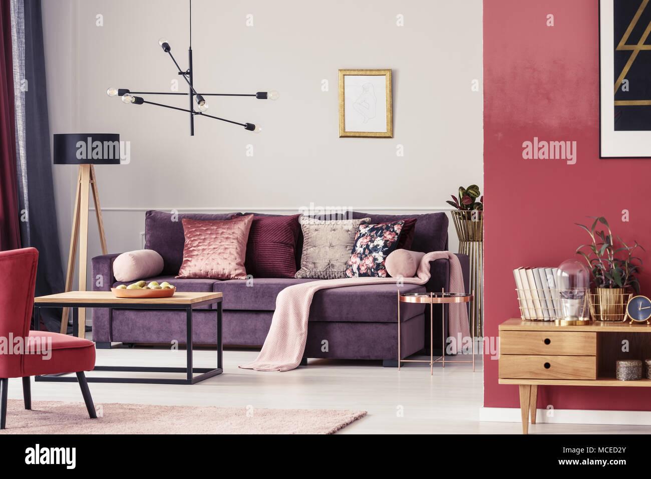 Salon Marron Interieur Avec Canape Ultra Violet A Motifs