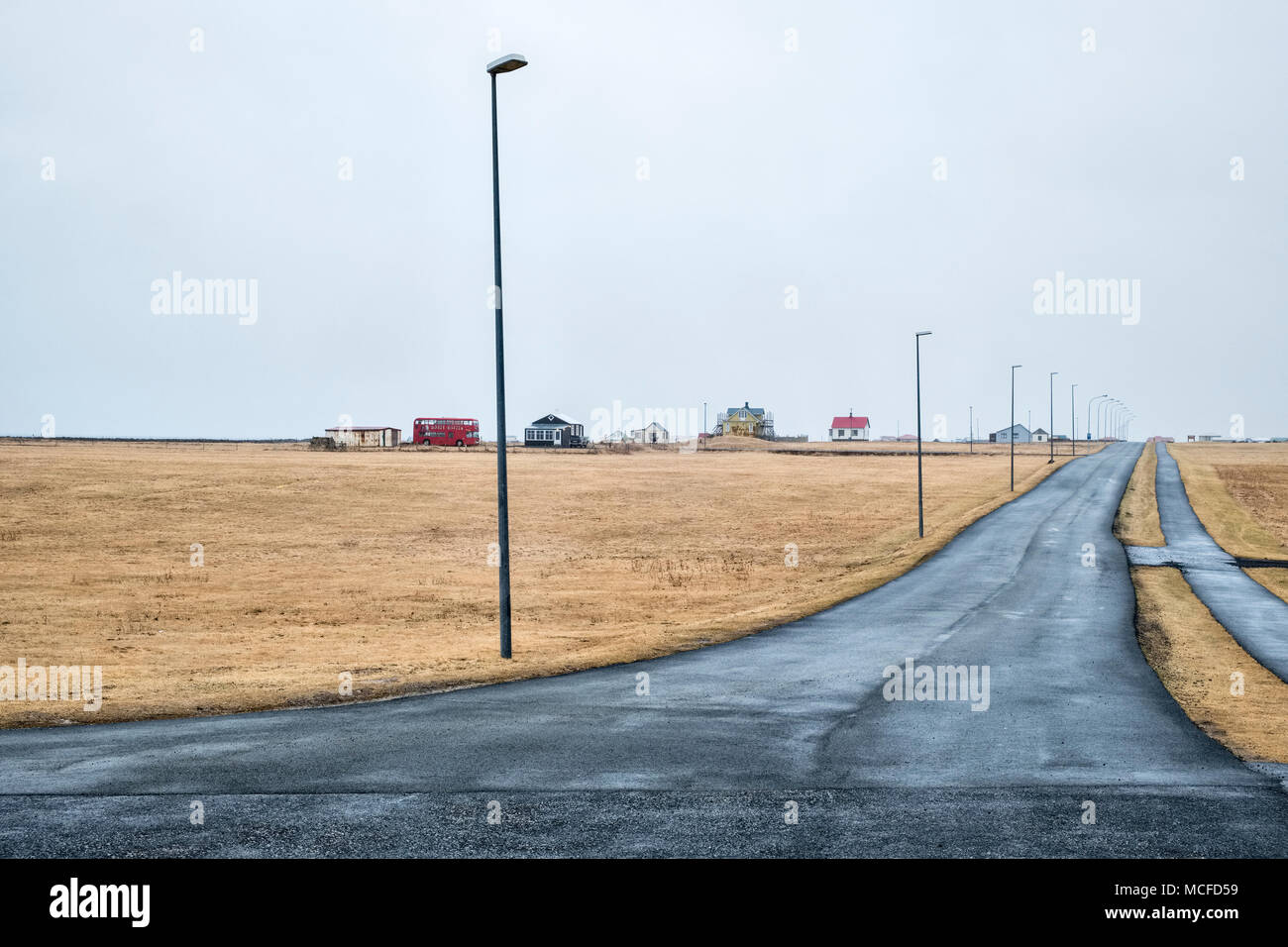 Garðskagi, Garður, l'Islande, à la pointe de la péninsule de Reykjanes, généralement sur un jour de pluie et de gris Photo Stock