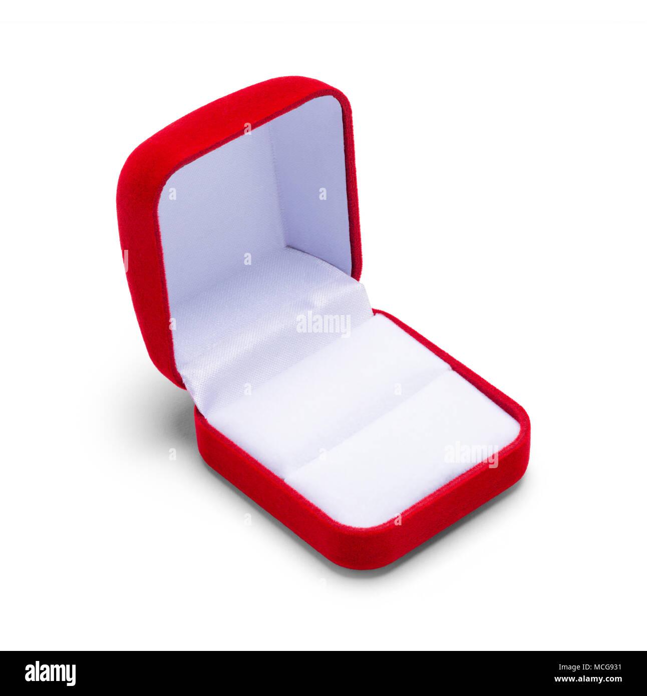 Ouvrez la boîte de bijoux rouge isolé sur fond blanc. Photo Stock