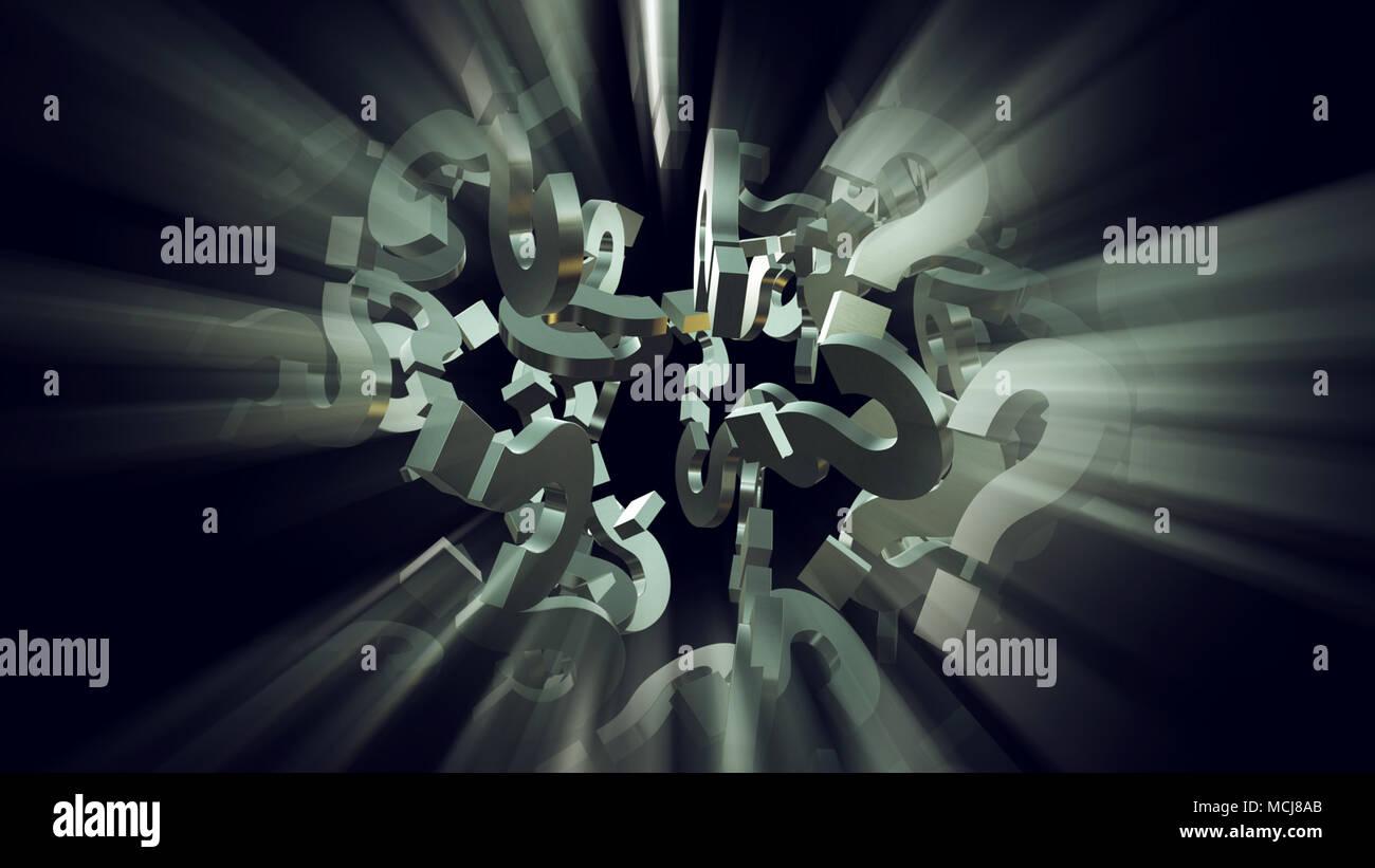 Le rendu 3d illustration de l'explosion de particules d'interrogation comme concept de perplexion et la confusion, pour obtenir des réponses Photo Stock