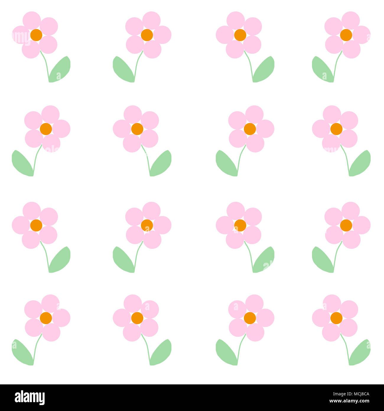 Mignon Bébé Illustré Fleurs Roses Impression Simple à