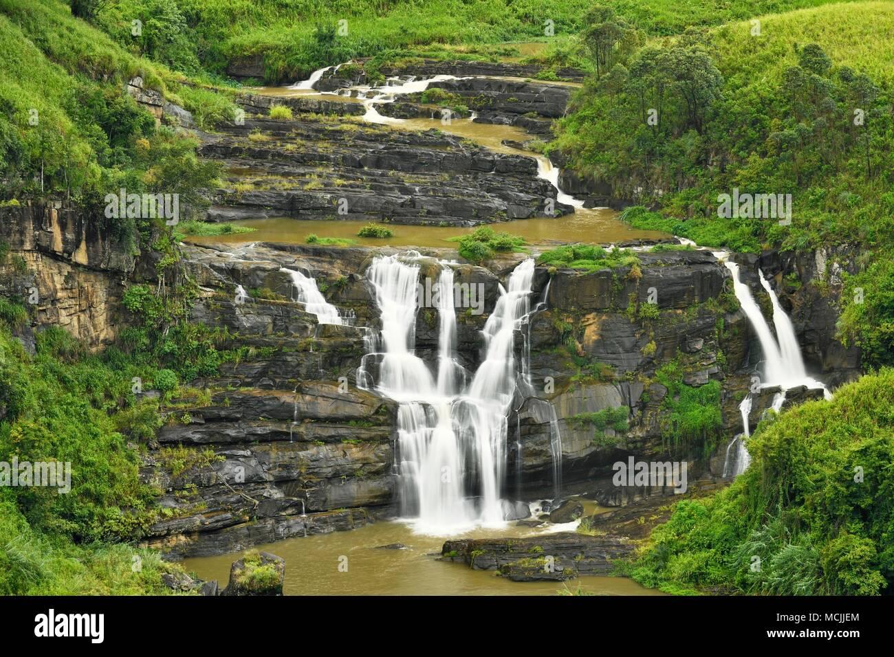 Sainte-claire's Falls, hauts plateaux du centre, Talawakale, Sri Lanka Photo Stock