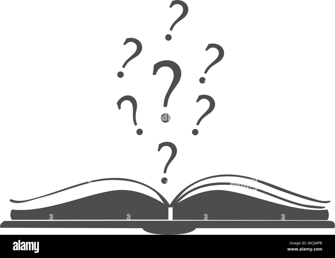 Icone Livre Ouvert Avec Des Points D Interrogation Au Dessus