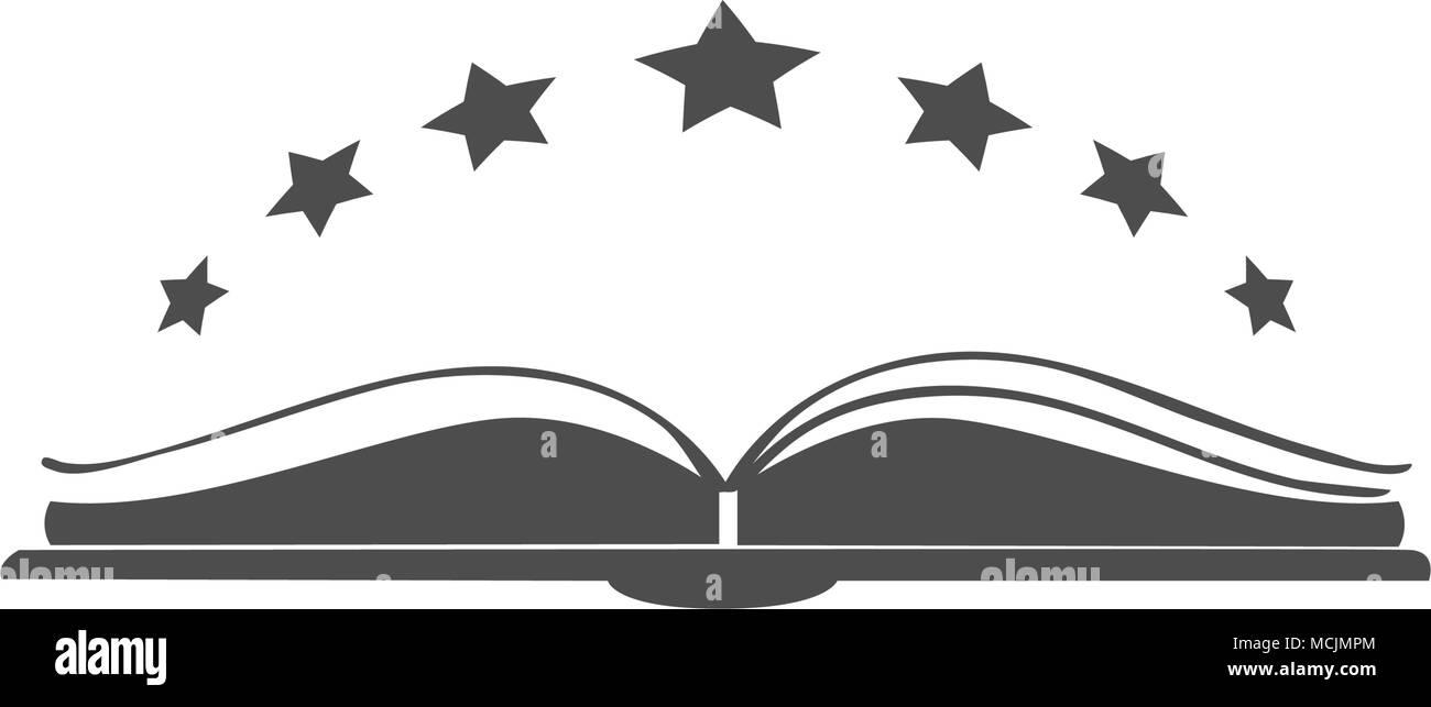 Icone Vecteur Livre Ouvert Avec Des Etoiles Au Dessus