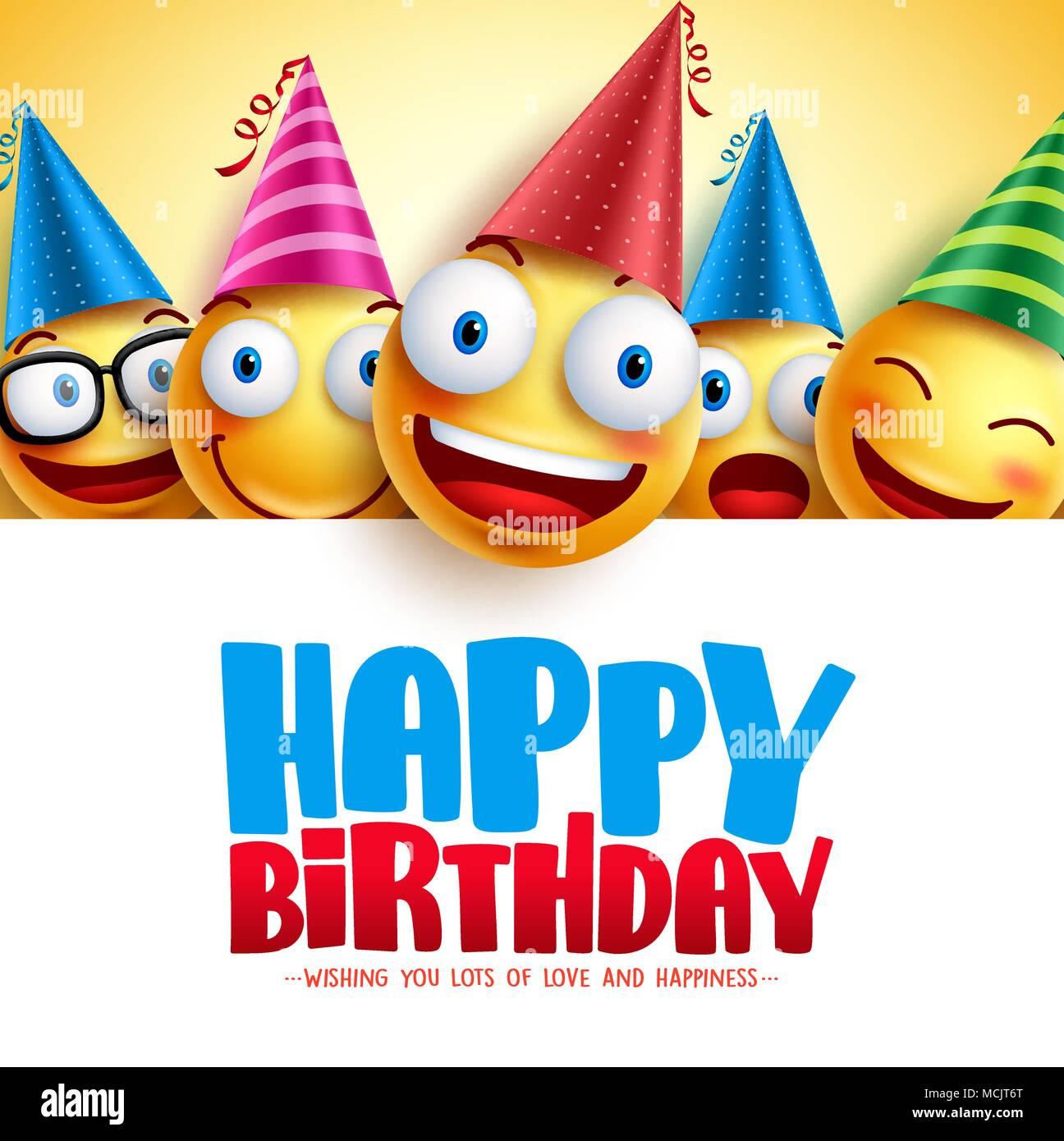 Joyeux anniversaire smileys vector design fond jaune avec des émoticônes et drôle et heureux ...