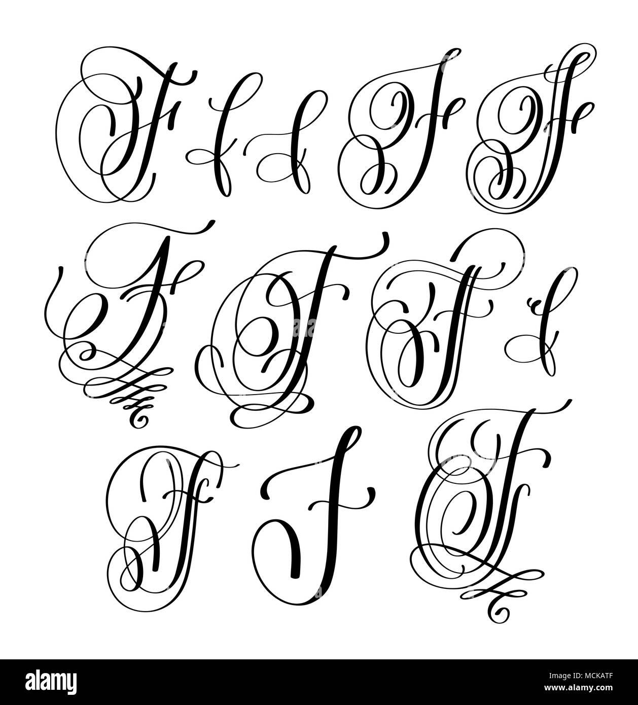 Calligraphie Lettre lettrage calligraphie script f définie, la signature manuscrite