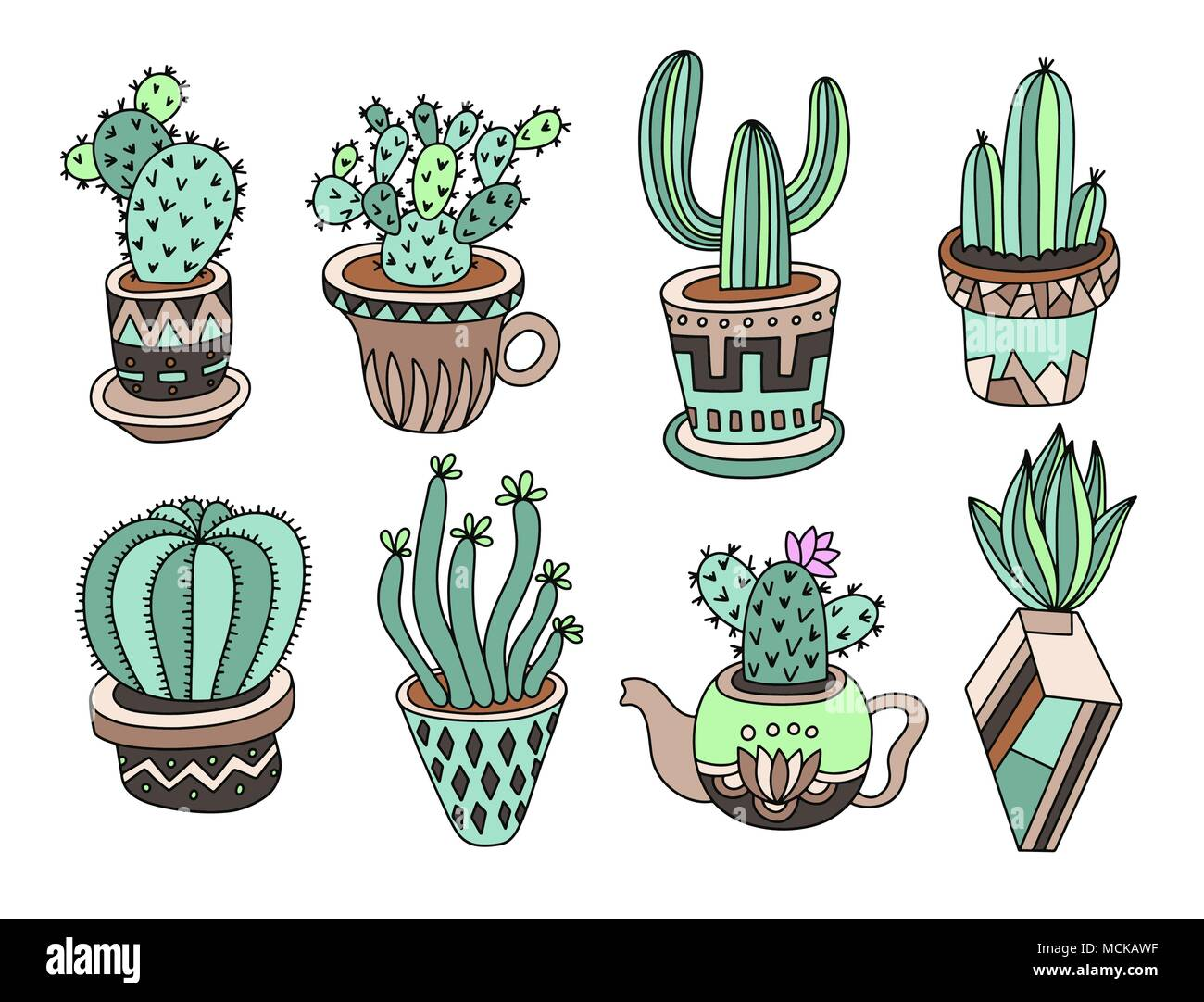 Collection De Cactus Doodle Dessin à La Main Ensemble De