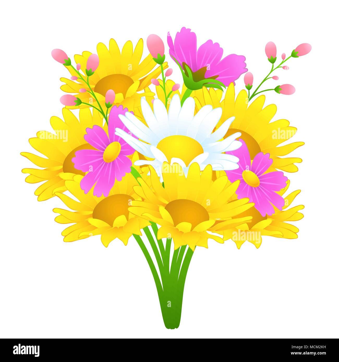 Bouquet De Fleurs Aux Couleurs Vives Dessin Vectoriel