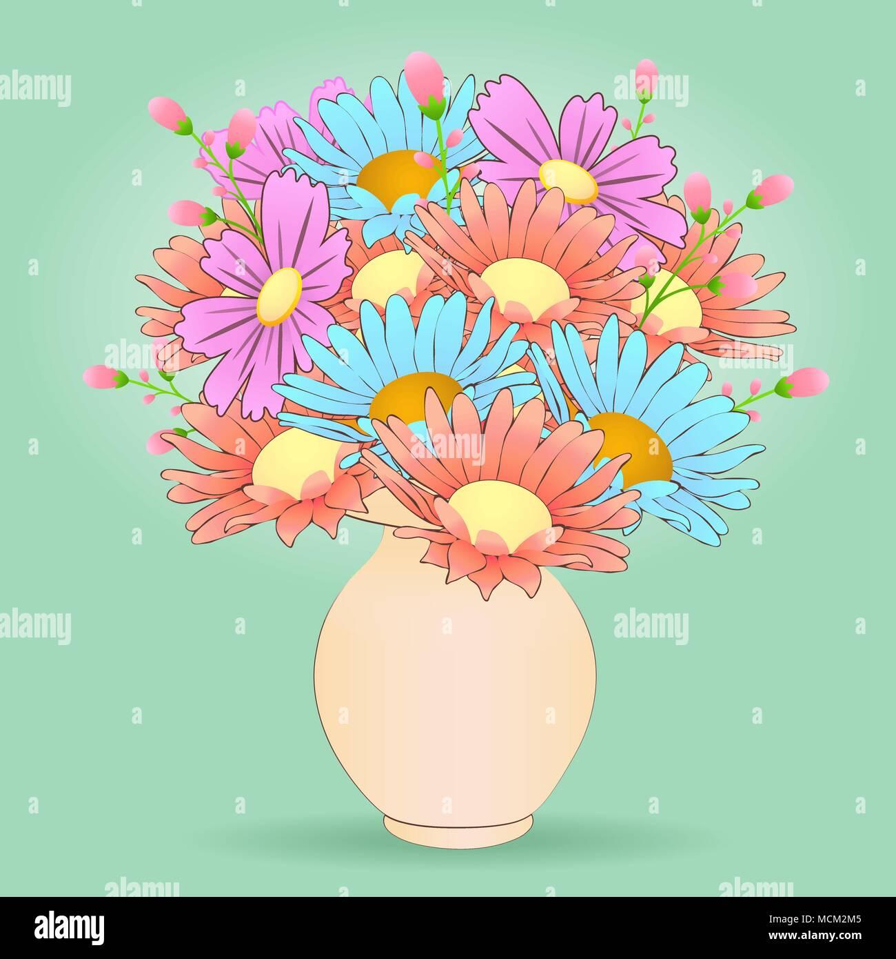 Bouquet De Fleurs Dans Le Vase De Dessin Animé Scénario à