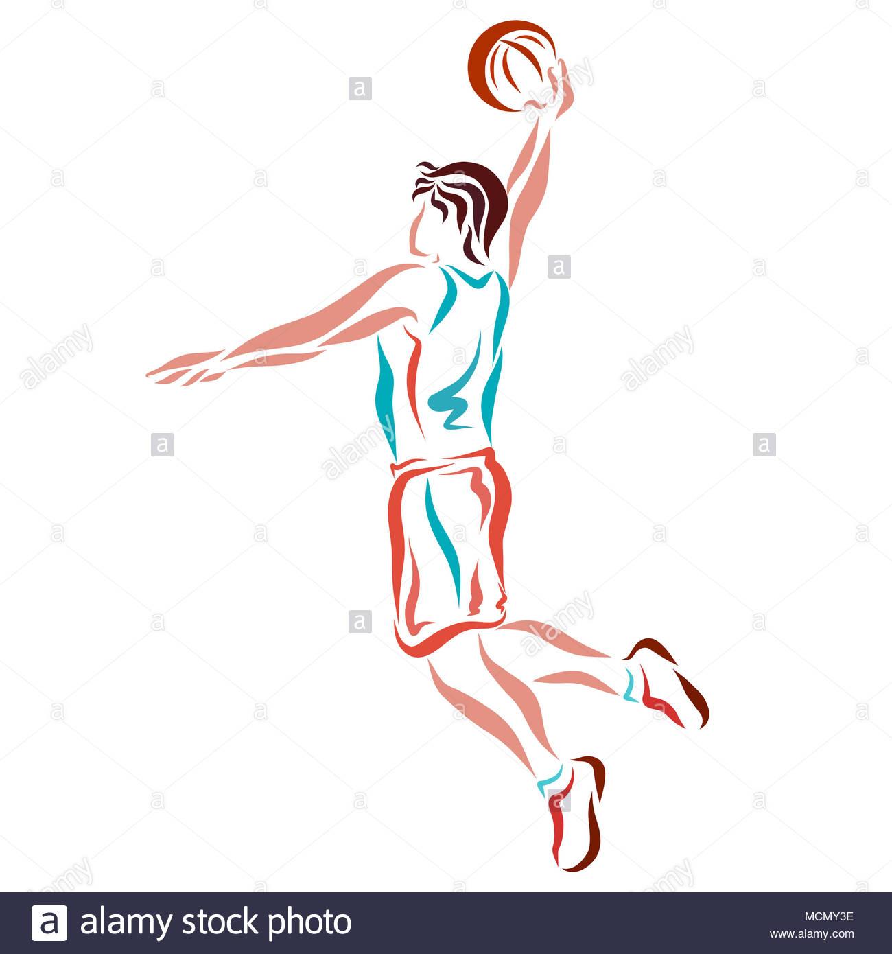 Basket Ball Saut Avec Le Ballon Le Dessin Des Lignes Douces
