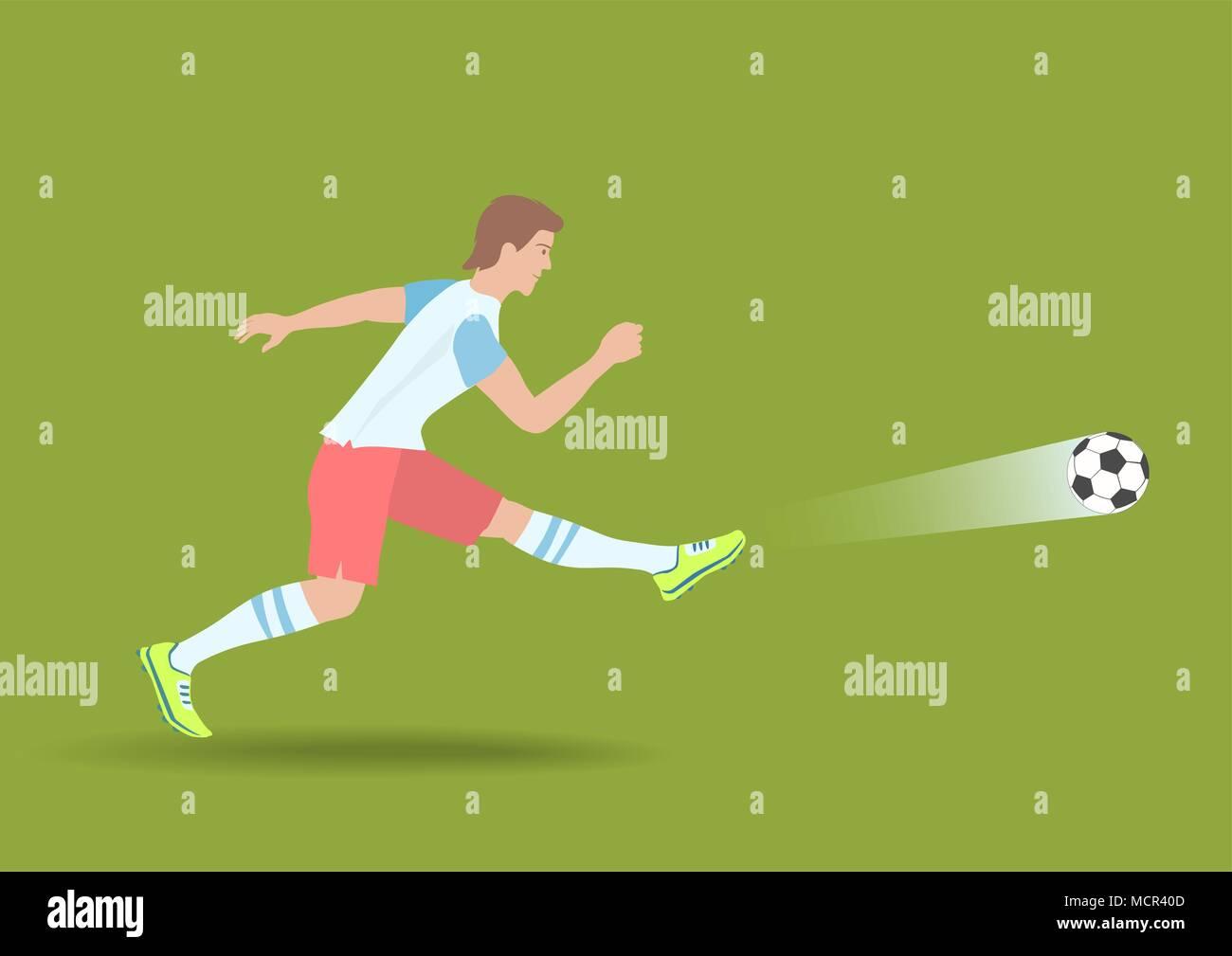 Soccer Shot puissant. Illustration de Vecteur