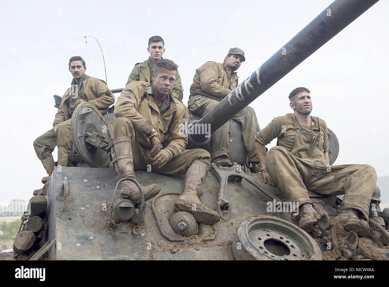 FURY 2014 Columbia Pictures film avec Brad Pitt Photo Stock