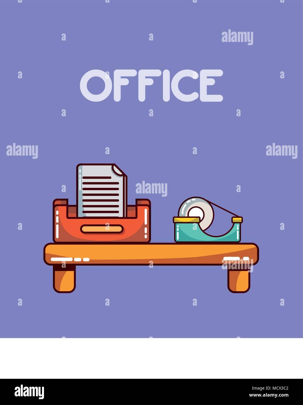 Éléments de travail de bureau Illustration de Vecteur