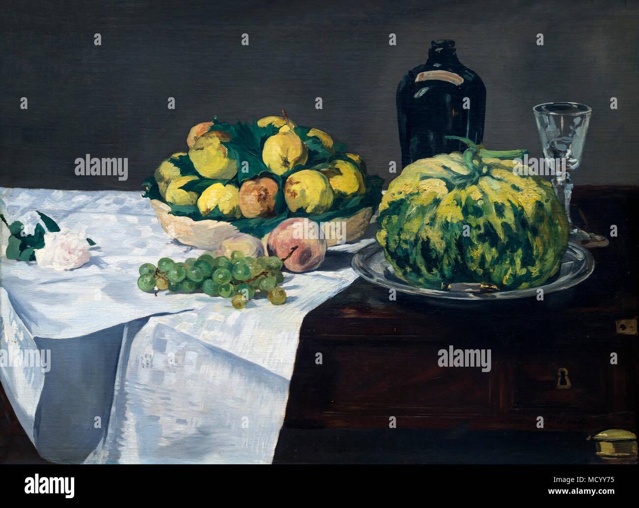 Nature morte au melon et pêches, Edouard Manet, vers 1866, National Gallery of Art, Washington DC, USA, Amérique du Nord Photo Stock