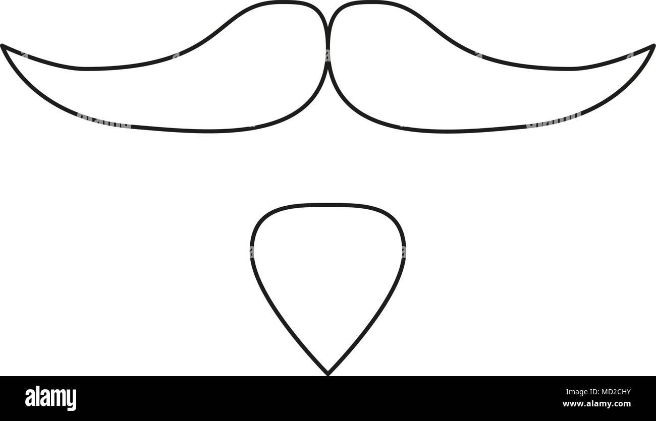 Dessin Au Trait Noir les dessins au trait noir et blanc set barbe moustache vecteurs et