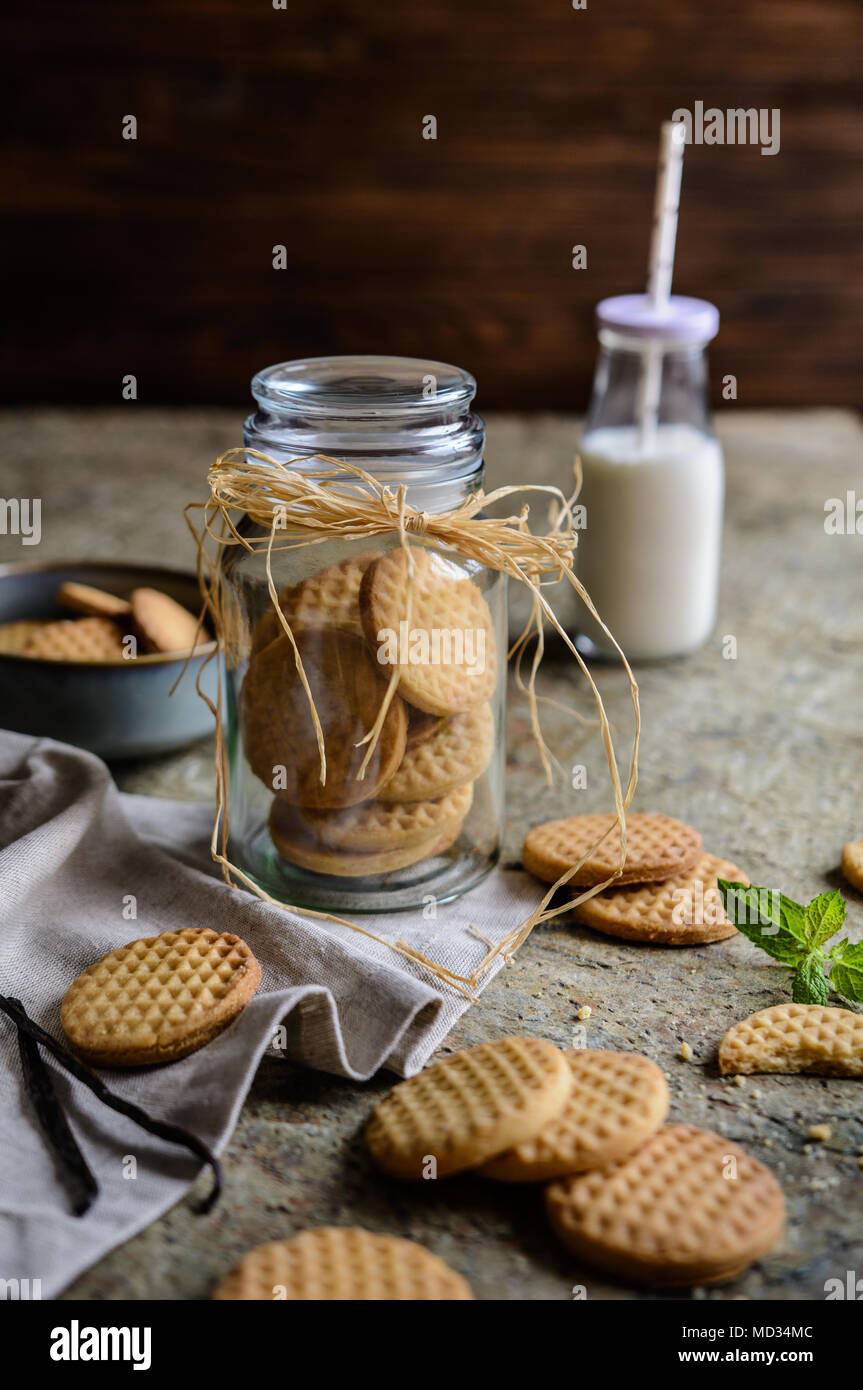 Doux traditionnel des petits biscuits au beurre à la vanille Photo Stock