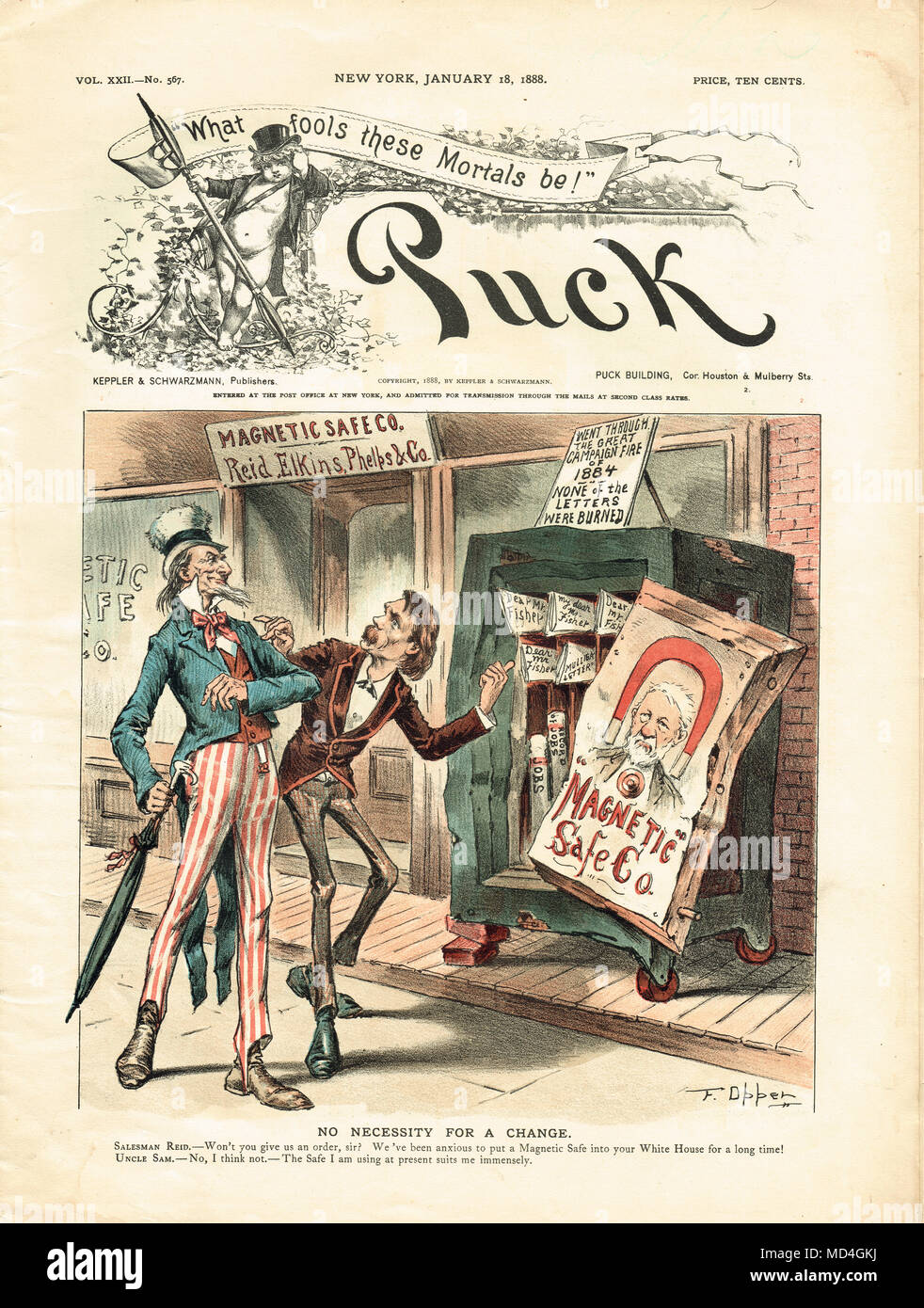 Whitelaw Reid tente de vendre un oncle Sam-magnétique, satirique Puck cartoon de 1888 Photo Stock