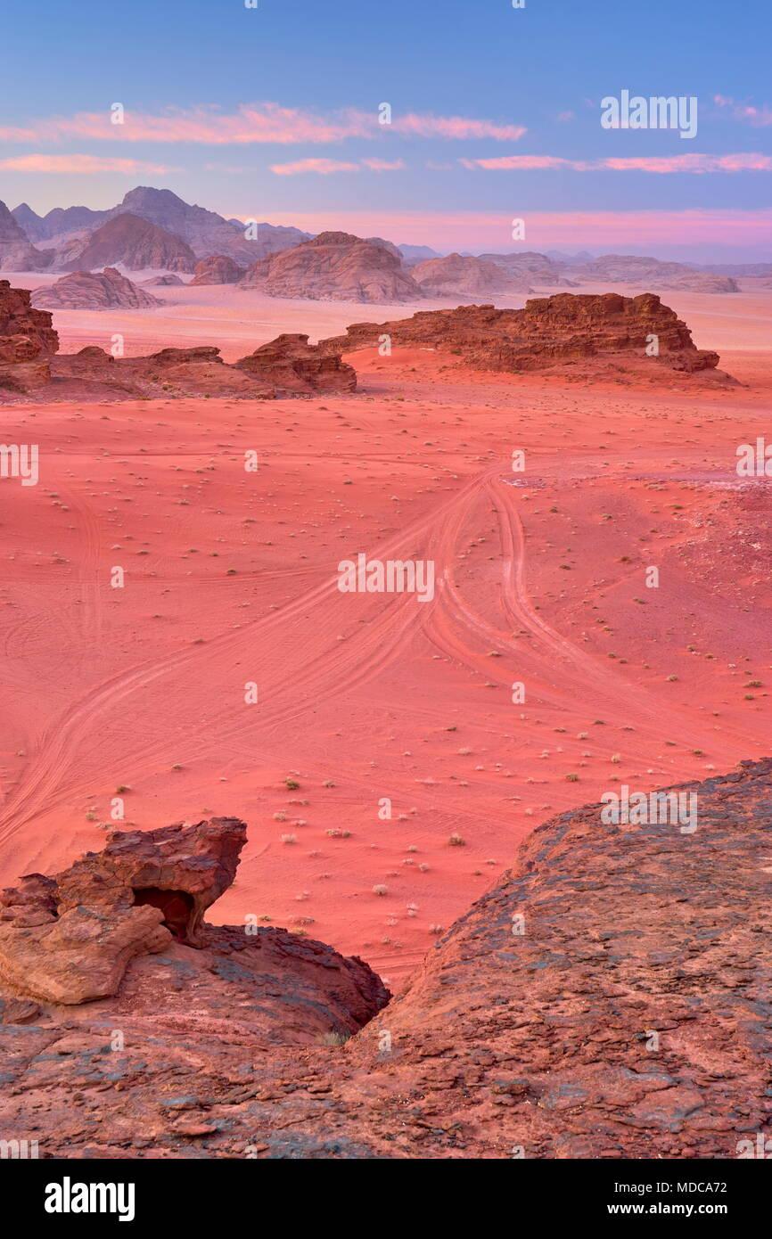 Le désert de Wadi Rum, Jordanie Photo Stock