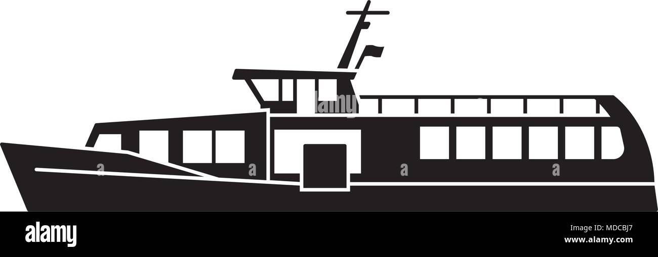 Silhouette d'ferry boat Photo Stock