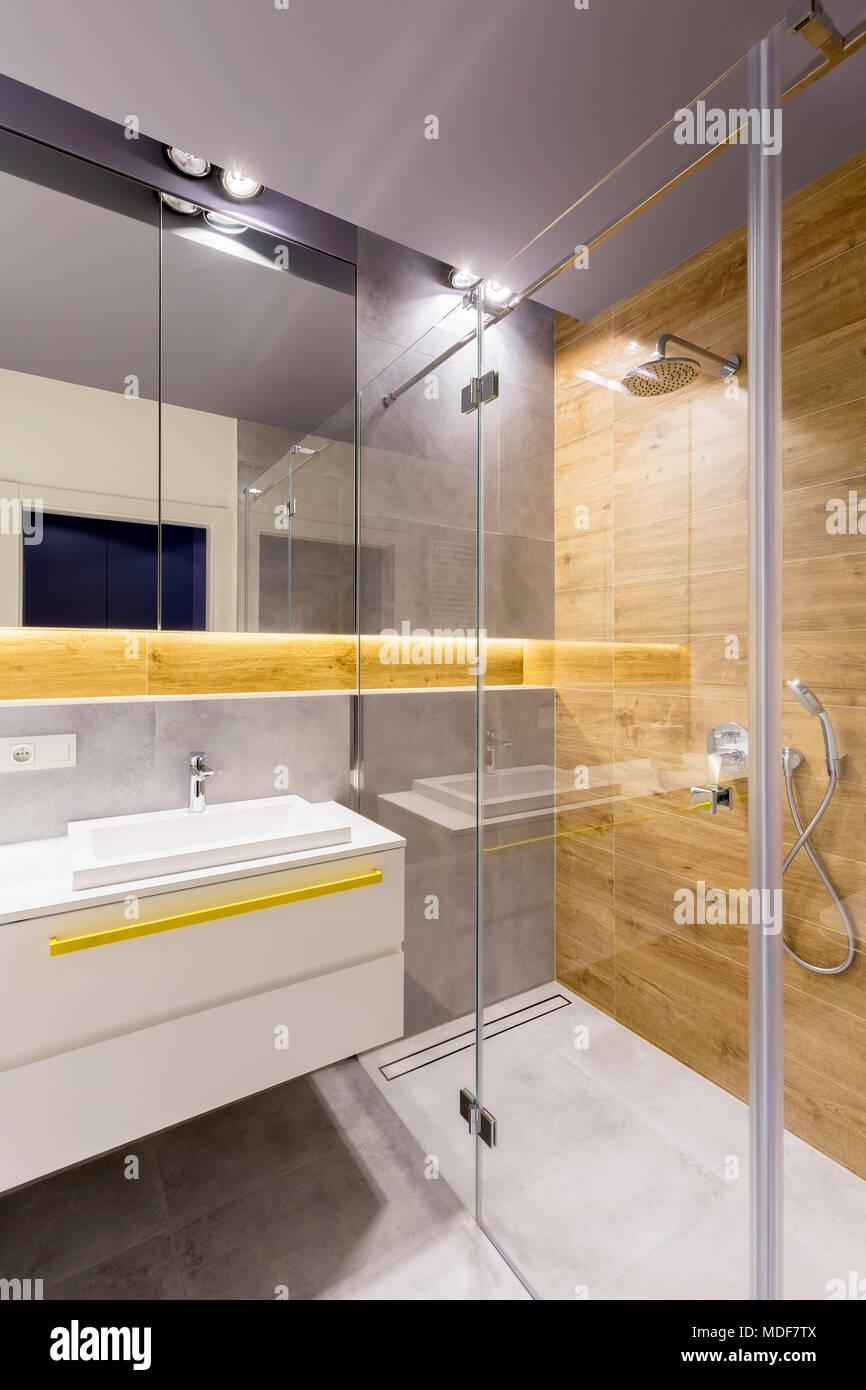 Intérieur salle de bains moderne avec cabine de douche en ...