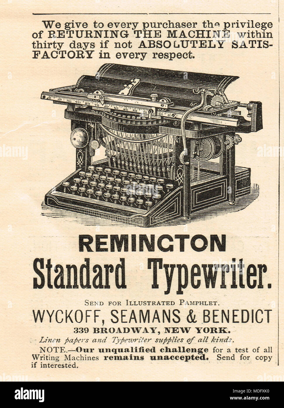 Début de l'annonce, Remington machine à écrire standard, 1888 Photo Stock