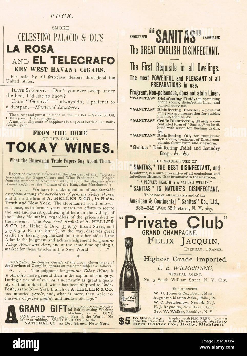 Au début de la publicité américaine, rondelle, 1888 Photo Stock