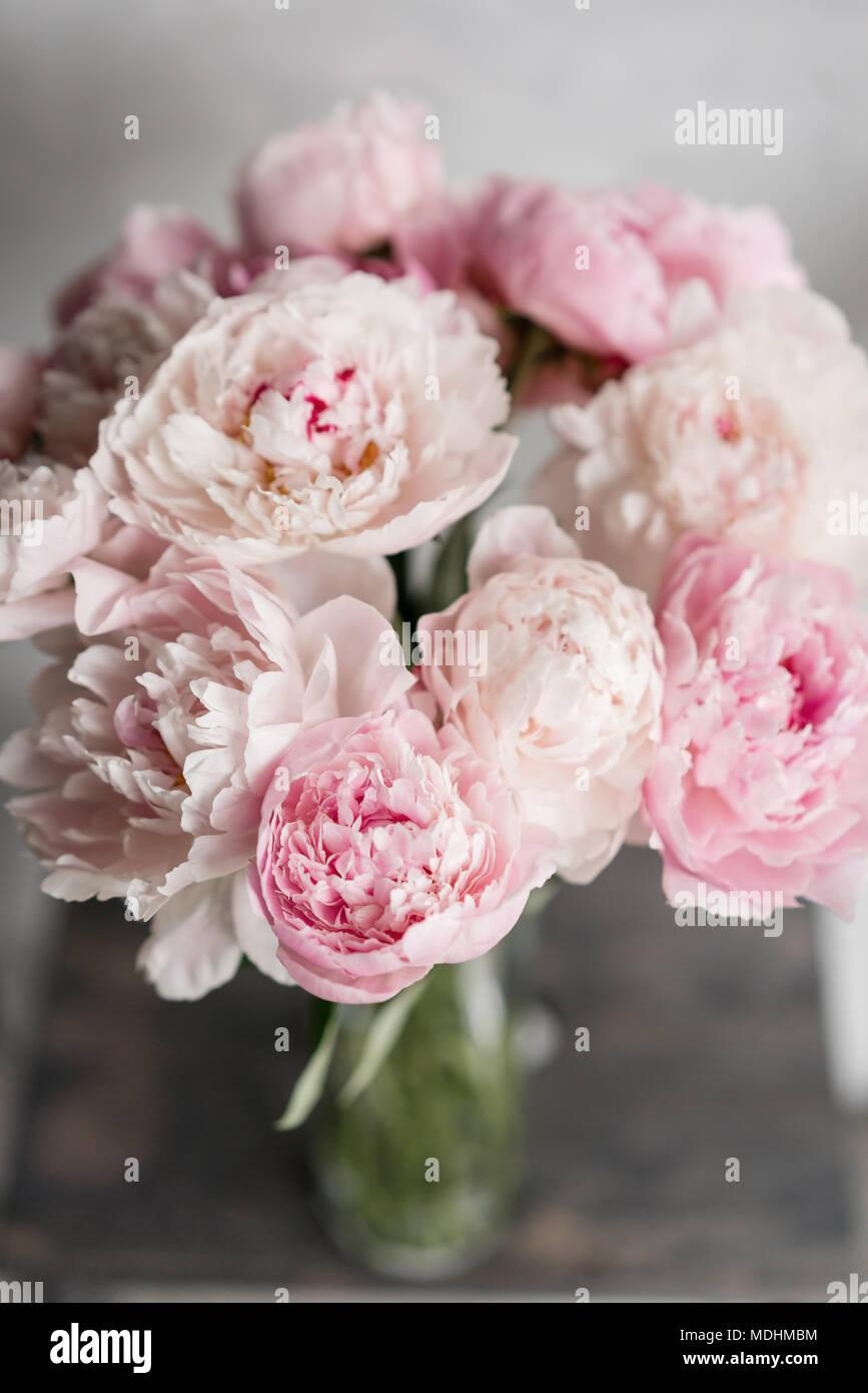 Mignon Et Jolie Pivoine Nombreux Petales En Couches Bouquet De