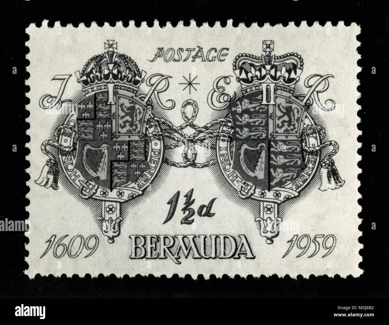 Bleu 1 et 1/2d stamp 350 ans anniversaire de Bermudes, 1959 Banque D'Images