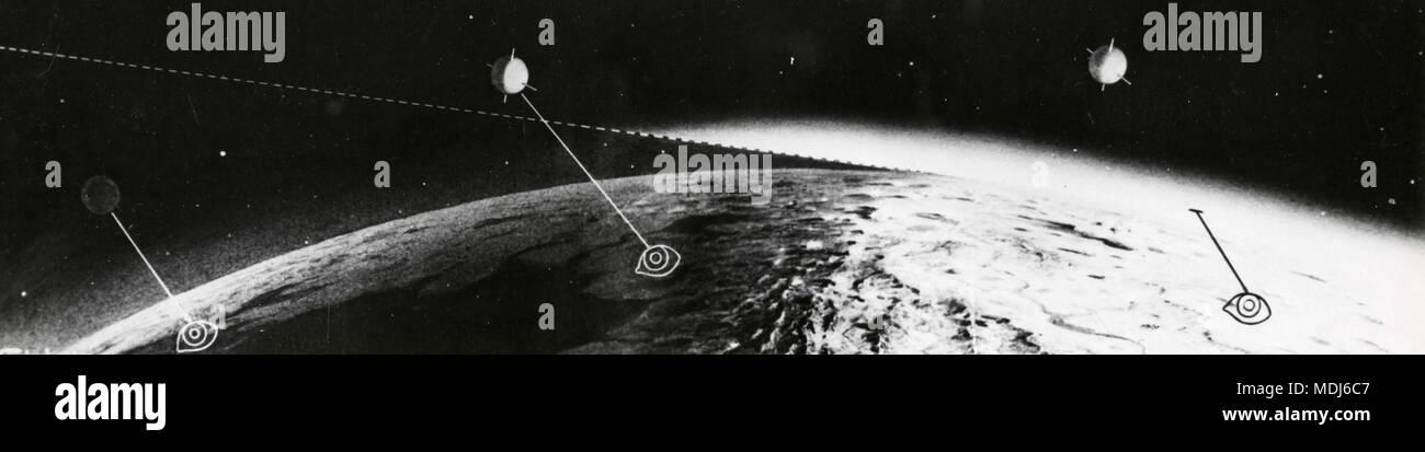 Le rendu graphique des satellites artificiels en orbite autour de la terre, 1950 Banque D'Images