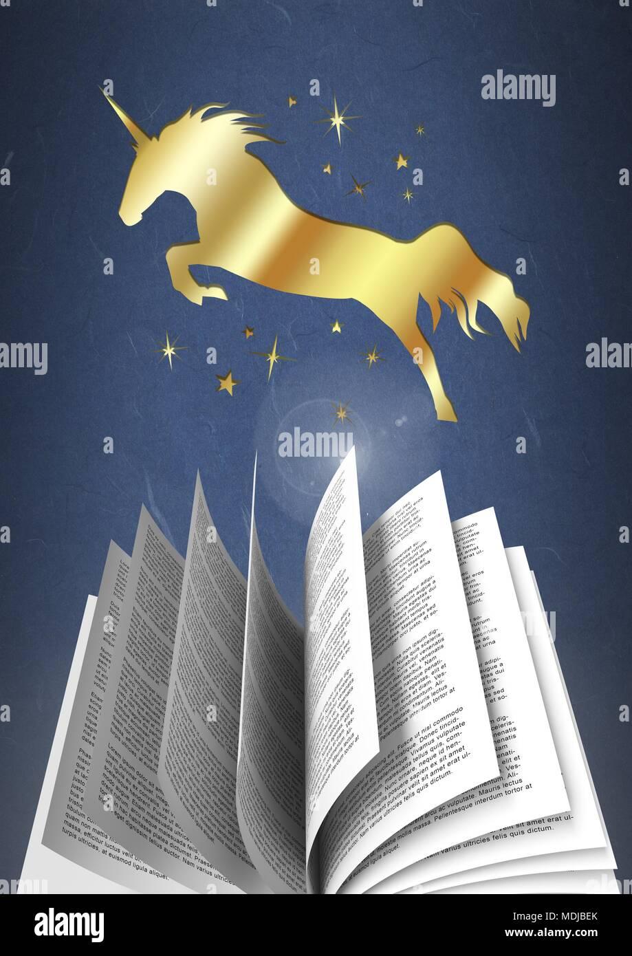 Licorne D Or Au Saut En Tournant La Page Livre De Magie