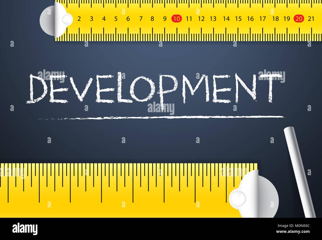 La mesure de l'élaboration du projet. Différentes façon de mesurer l'indice de développement humain du pays soit de son côté ou de gestion de l'angle d'affaires Photo Stock