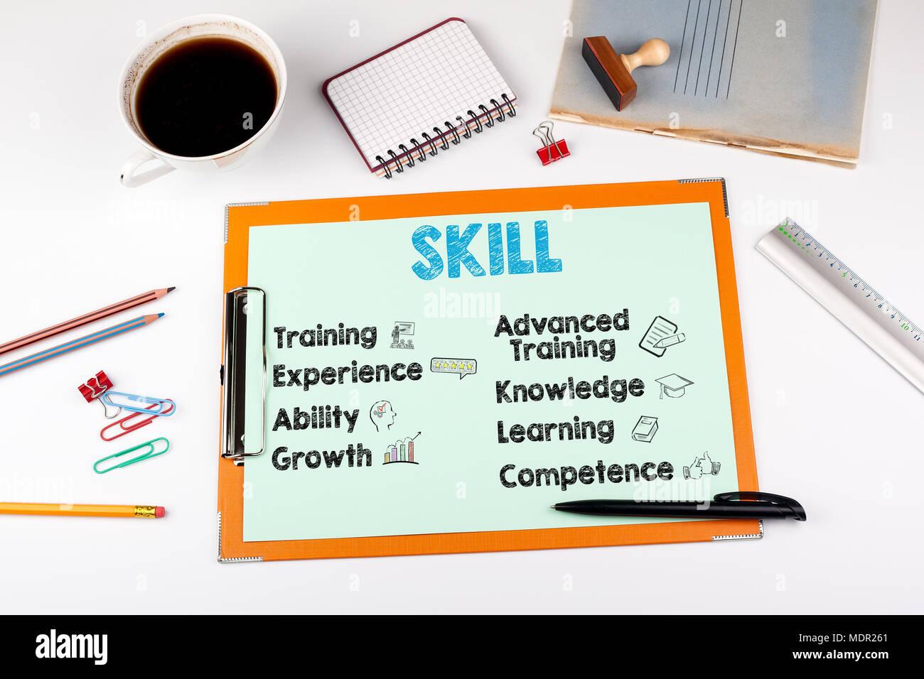 Le concept de compétence, mots-clés et des icônes. Office 24 avec modèle Photo Stock